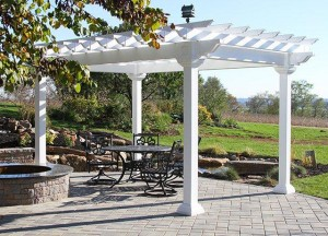 White Pergola on a paved patio