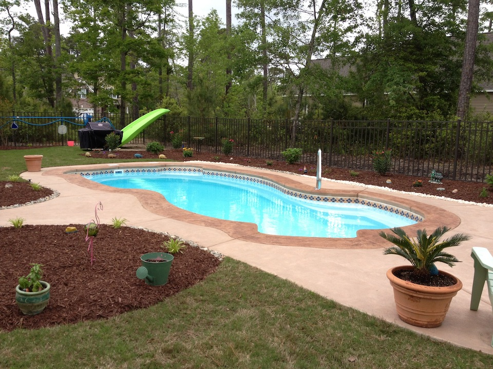 finished fiberglass pool