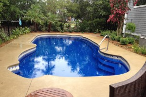 Deep Blue Fiberglass Pool
