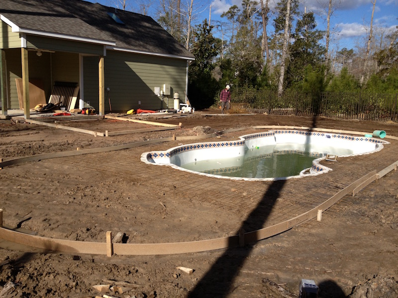 pool installed during house build