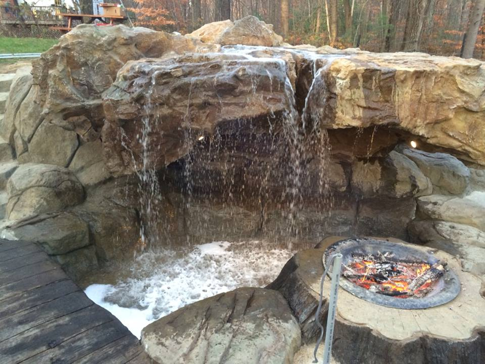 waterfall firepit