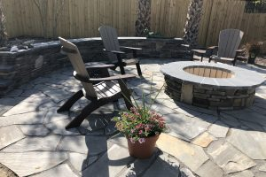 Custom Fire Pit on Flagstone Patio